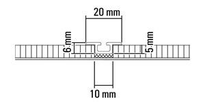 Vloerrail, inbouw, 1-gangs, bv. in hout- en tegelvloer