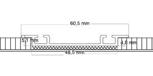 Vloerrail, inbouw, 2-gangs, bv. in hout- en tegelvloer