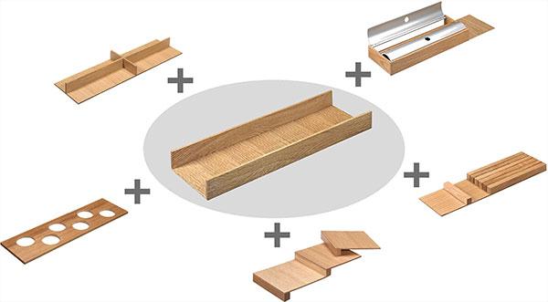 Variable Gestaltungsmöglichkeiten des Schubladeneinsatzes