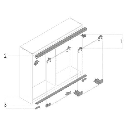 composants d'un système de portes coulissantes