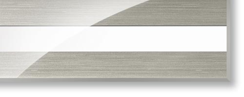 3D acrylic edging Stripe white-stainl.steel LED high gloss