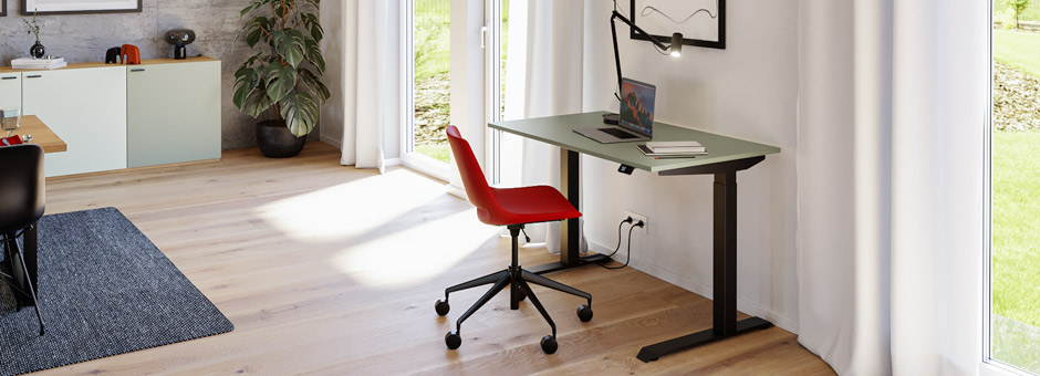 Height-adjustable desk in the living room